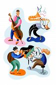 Jazz Musicians Flat Vector Characters Set. Band, Orchestra Performance, Concert. Double Bass, Piano  poster