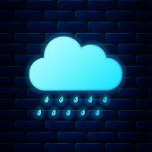 Glowing Neon Cloud With Rain Icon Isolated On Brick Wall Background. Rain Nimbus Cloud Precipitation poster