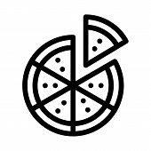 Sliced Pizza Icon Vector. Outline Sliced Pizza Sign. Isolated Contour Symbol Illustration poster