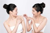 Portrait Two Beautiful Young Asian Woman Clean Fresh Bare Skin Concept.  Asian Girl Beauty Face Skin poster