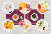 Healthy Breakfast. Food Daily Menu Cheese Biscuits Milk Juice Eggs Butter Meal Vector Cartoon Produc poster