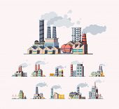 Factory. Industrial Buildings Manufactures Air Pollution Vector Flat Pictures. Illustration Building poster