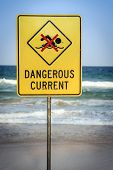 Warning Sign For Swimmers To Beware Dangerous Currents poster