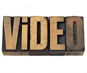 video word   -  isolated text in vintage letterpress wood type
