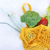 Eco Bag With Vegetables A Bottle Of Water And An Eco Straw. Zero Waste Concept. Eco-friendly Lifesty poster