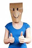 stock photo of masker  - a person with a mask and a winning smile isolated - JPG