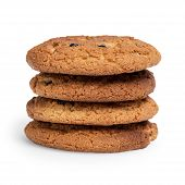Oat Cookies With Raisins In Stack
