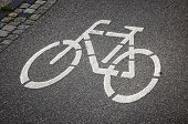 stock photo of bike path  - Bicycle sign on the road in Lubeck - JPG