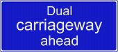 Dual carriageway ahead sign