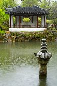 Chinese Garden In The Rain