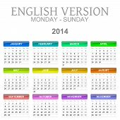 2014 Calendar English Version Monday To Sunday