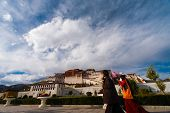 Tibetans Potala Palace Front Clouds Base Lhasa