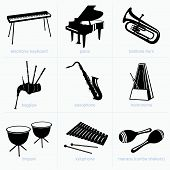 image of timpani  - Set of musical instruments on white background - JPG