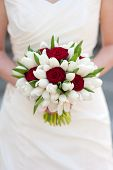 Red Rose And White Tulip Wedding Bouquet