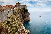 Yacht And Impregnable Walls Of Dubrovnik, Croatia