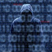 picture of hack  - Silhouette of a hacker isloated on black with binary codes on background - JPG