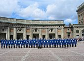 The ceremony of changing the Royal Guard in Stockholm, Sweden