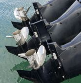 foto of outboard  - Outboard Motor Propeller of my boat in a harbour - JPG