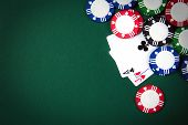 stock photo of poker hand  - Blackjack playing cards and casino poker chips - JPG