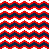 Abstract geometric chevron seamless pattern in blue red and white, vector