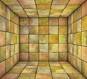 3D Mosaic Square Tiled Grunge Empty Space In Multiple Color