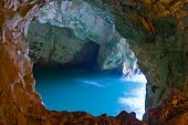 stock photo of cave  - a sea cave at Rosh Hanikra  - JPG