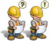 image of understanding  - Cartoon illustration of a construction worker reading a blueprint - JPG