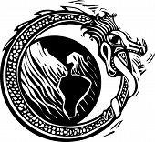 foto of thor  - Woodcut style image of the viking Norse midgard serpent circling the earth - JPG