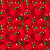 Vector seamless background with red bell peppers.
