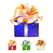Color Gift Boxes With Bows And Ribbons