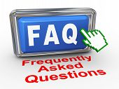 image of faq  - 3d render of hand cursor pointer click on button with phrase faq frequently asked questions - JPG