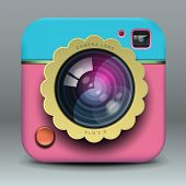 App design pink photo camera icon