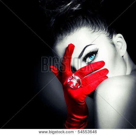 Beauty Fashion Glamorous Model Girl Portrait. Vintage Style Mysterious Woman Wearing Red Glamour Glo poster
