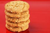 Stack Of Peanut Butter Cookies On Red