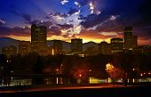 stock photo of highrises  - Denver Skyline at Sunset - JPG