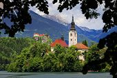 Bled Lake in Slovenia and the Assumption of Mary Church, Slovenia, Europe