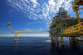 foto of petroleum  - Oil and gas platform in offshore or Offshore construction - JPG