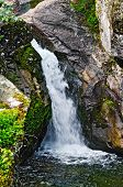 stock photo of ural mountains  - Waterfall on the river Zhigalan on a ridge Kvarkush in the north of the Ural mountains - JPG