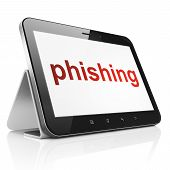 Safety concept: Phishing on tablet pc computer