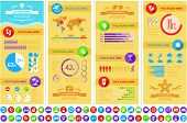 Platte Infographic elementen plus Icon Set. Vector EPS 10.