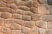 stock photo of andes  - stone wall in Chincheros town in the peruvian Andes at Cuzco Peru - JPG
