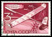 Vintage  Postage Stamp.  Model  Gliders.