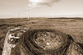Sepia Barbed Wire On A Rock With Wind Turbines
