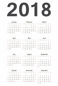 European 2018 Year Vector Calendar