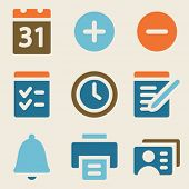 Organizer web icons vintage color series