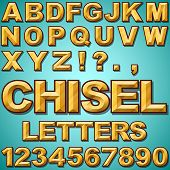 foto of chisel  - An Alphabet Set of Gold Chiseled Block Letters and Numbers - JPG