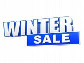 Winter Sale In 3D Blue Letters And Block