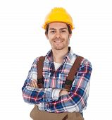 Confident Worker Wearing Hard Hat