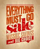 Everything must go sale retro poster. Eps10.
