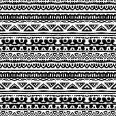 Striped ethnic pattern in black and white